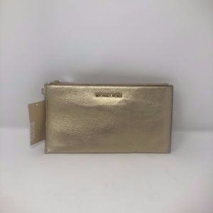 Bedford Zip Pale Gold Leather Clutch